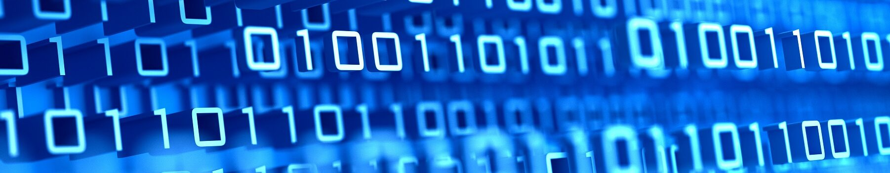 big data; blue background with flowing binary digits, shallow depth of field